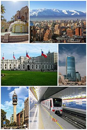 Do topo, em sentido horário: Cerro Santa Lucía; Sanhattan; Titanium La Portada em construção; estação do Metro de Santiago; Torre Entel; e Palácio de La Moneda.