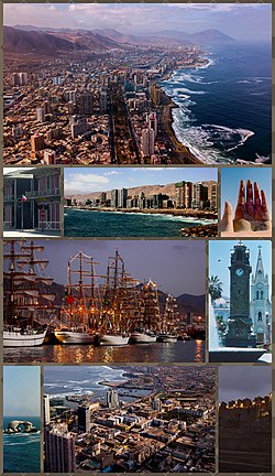 "Montage of Antofagasta, Top:View of downtown Antofagasta, 2nd left:Antofagasta Clock Tower in Colón Square, 2nd middle:""Mano del Desierto"" (Hand of the Desert) Sand Sculpture in Atacama Desert, 2nd right:View of Coldelco towers, 3rd left:Balneario Beach, 3rd right:Arturo Prat shopping center area, Bottom:View of La Portada Natural Monument."