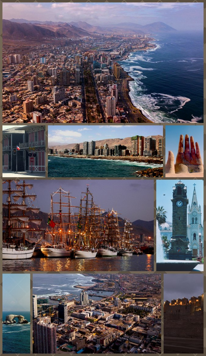 """Montage of Antofagasta, Top:View of downtown Antofagasta, 2nd left:Antofagasta Clock Tower in Colón Square, 2nd middle:""""Mano del Desierto"""" (Hand of the Desert) Sand Sculpture in Atacama Desert, 2nd right:View of Coldelco towers, 3rd left:Balneario Beach, 3rd right:Arturo Prat shopping center area, Bottom:View of La Portada Natural Monument."""