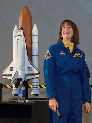 Teacher in Space Project - Barbara Morgan, Mission Specialist and backup for the Teacher in Space Project, speaks to an audience of students and media during a January 2007 demonstration at Space Center Houston.