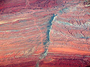 Diatreme - Aerial view of the Moses Rock Dike diatreme, Cane Valley, Utah, USA.