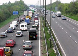 Queues after an accident on Britain's westbound M4