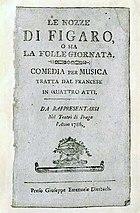 Le nozze di Figaro'nun librettosunun başlık sayfası