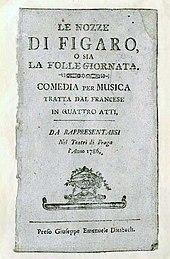 Titelblatt des Librettos von LeNozze di Figaro, Prag 1786 (Quelle: Wikimedia)