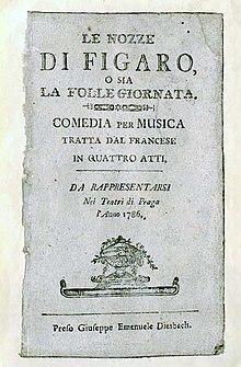 Le livret des Noces de Figaro pour la création à Prague, en 1786