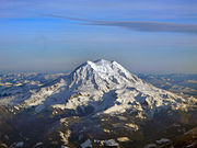 The three summits of Mount Rainier: Liberty Cap, Columbia Crest, and Point Success