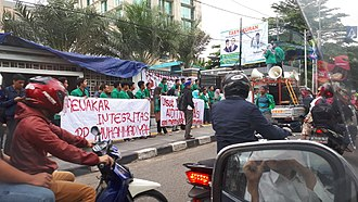 Muhammadiyah - Demonstration by the youth movement of Muhammadiyah in Muhammadiyah head office