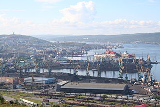 Barents Sea - The harbour of the Murmansk Fjord.