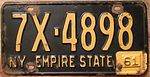 "NEW YORK 1961 LICENSE PLATE, 1960 plate with ""61"" TAB - Flickr - woody1778a.jpg"