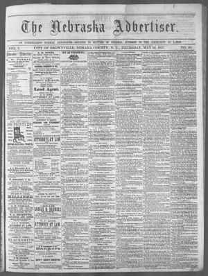 Nebraska Territory - The front page of the May 4, 1857 issue of the Nebraska Advertiser founded by Robert Wilkinson Furnas, in Brownville, in Nebraska Territory.