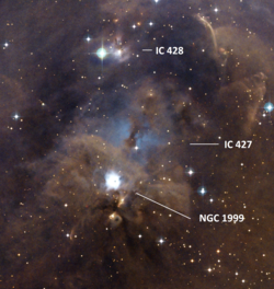 NGC 1999 - IC 427 - IC 428 - DSS2 labelled.png
