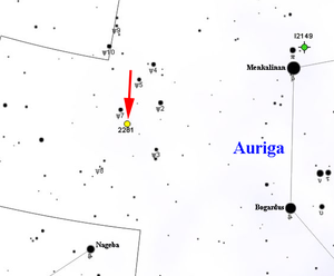NGC 2281 - Map showing the location of NGC 2281