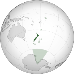 Location of New Zealand and the Ross Dependency