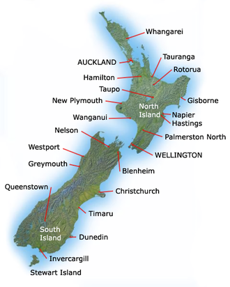 Outline of New Zealand - An enlargeable topographic map of New Zealand