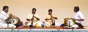 Nadaswaram - A typical ensemble of two nadaswaram and two thavil.