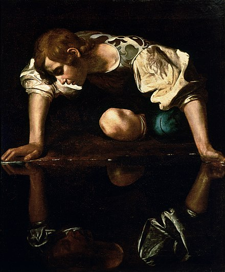 Look Mickey has reflective elements that call upon Caravaggio's Narcissus . Narcissus-Caravaggio (1594-96) edited.jpg
