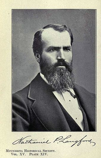 Portrait of Nathaniel P. Langford (1870), the first superintendent of the park NathanielPLangford.JPG