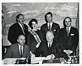 National Printers Week Committee call on Mayor Collins for pronouncement. Seated with Mayor- James Frazer, Chairman. Rear l to r- Edward Kelley, Miss Suzanne Hyde, Robert Wallingford, and Caesar DaCarta (13852730235).jpg