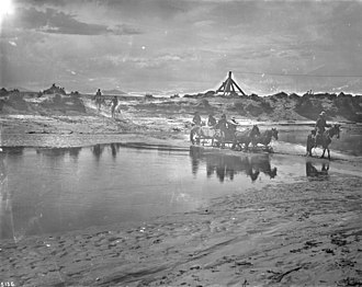 Little Colorado River - Navajo Indians crossing the Little Colorado River, ca.1900