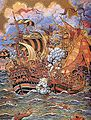 Navire ottoman et navire espagnol pendant la bataille de Tunis 1535.jpg