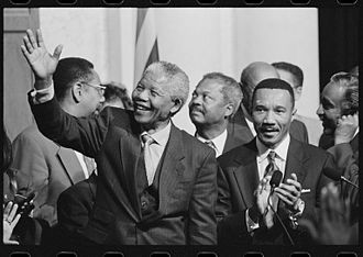 Congressional Black Caucus - South African President Nelson Mandela with members of the Congressional Black Caucus, including Representative Kweisi Mfume, at an event at the Library of Congress
