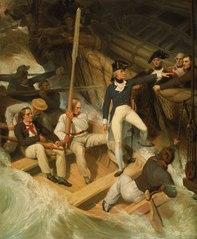 Nelson boarding a captured ship, 20 November 1777