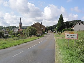 Neuville-lès-This (Ardennes) city limit sign.JPG