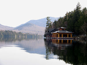 Lake Placid (New York) - Image: New Boathouse N end of Lake Placid