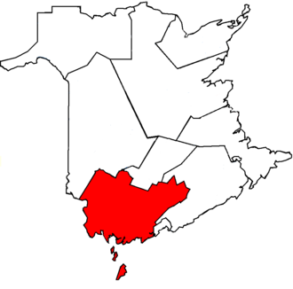 New Brunswick Southwest - New Brunswick Southwest in relation to other New Brunswick federal electoral districts