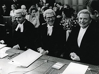 Martyn Finlay - Finlay (centre) at the International Court of Justice in The Hague, 1973.