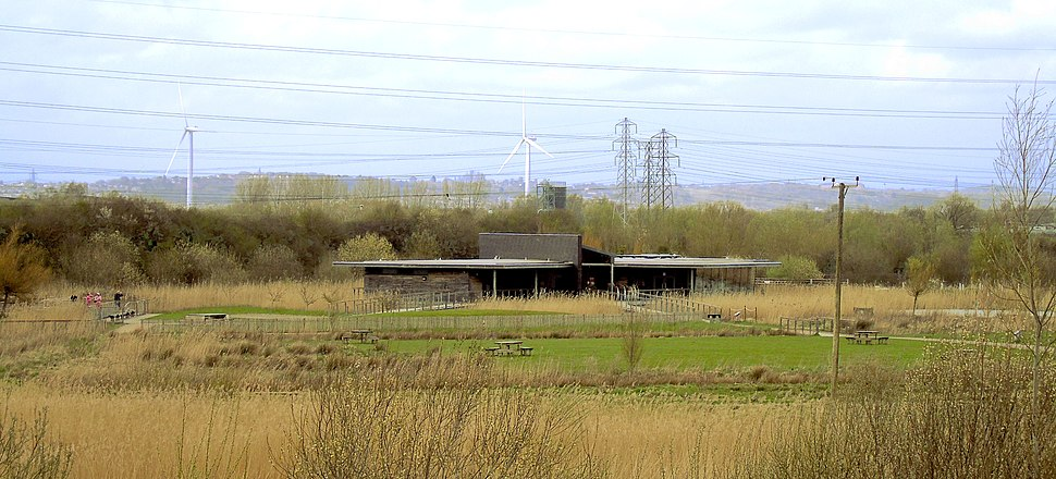 Newport Wetlands RSPB Reserve Visitor Centre Seen From Hill