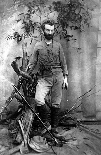 "Nicholas Miklouho-Maclay - Miklouho-Maclay, ca. 1880 in Queensland, Australia. A typically posed shot from the period to emphasise the ""explorer"" persona — note the Eucalyptus leaves, and explorer ""tools""."
