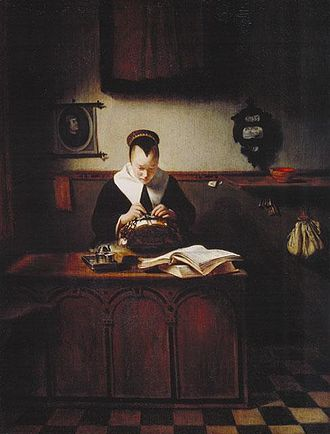 An Old Woman Dozing - Image: Nicolaes Maes, Lacemaker