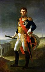 Print shows a man looking over his shoulder to the viewer's right. His military uniform is almost entirely covered by a cloak.