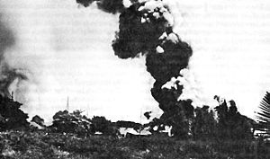 Nielson Field - Nielson Field in flames after a Japanese attack on December 10, 1941
