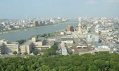 A view of Niigata City and Shinano River from observation deck of Niigata Prefecture Building.
