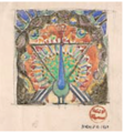 Noémi Raymond, study of peacock mural for the Imperial Hotel, Tokyo, 1920, pencil, watercolor, and gold leaf.png
