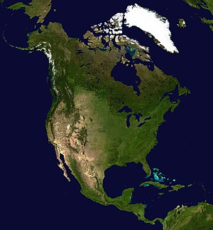 A composed satellite photograph of North Ameri...