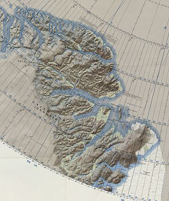 Peary Land - Map of Far Northeastern Greenland.