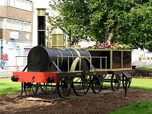 Weston-super-Mare railway station - A replica of the locomotive North Star at the site of the first station
