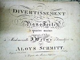 Titelblatt einer Komposition von Aloys Schmitt, um 1830 (Quelle: Wikimedia)