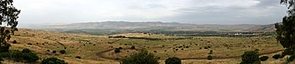 Golan Heights - Panorama looking west from the former Syrian post of Tel Faher