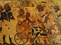 Nubians bringing tribute for King Tut, Tomb of Huy.jpg