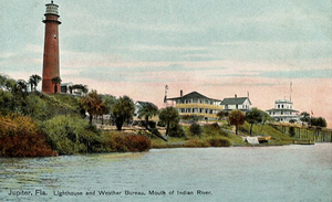 National Weather Service Miami, Florida - The Jupiter Inlet Light complex in 1908. The Weather Bureau is on the far right