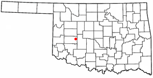 Colony, Oklahoma - Image: OK Map doton Colony
