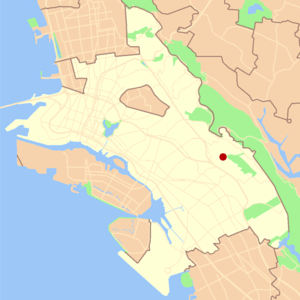 Ridgemont, Oakland, California - Location of Ridgemont in the City of Oakland.