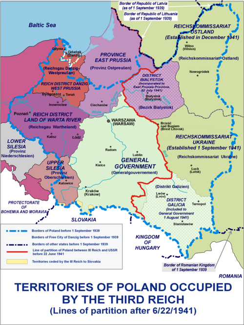 Changes in administration of Polish territories following the 1941 German invasion of the Soviet Union Occupation of Poland 1941.png