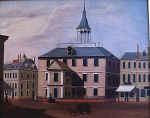 First Church in Boston - Image: Old Brick Church, built 1712, demolished 1808 by unknown artist Old State House Museum, Boston, MA IMG 6790