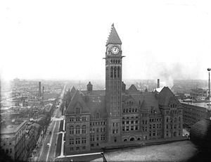Ontario Heritage Act - Old City Hall in Toronto in 1907.  Its proposed demolition in the 1960s contributed to increased heritage awareness in Ontario, which led to heritage protection measures such as the Ontario Heritage Act.