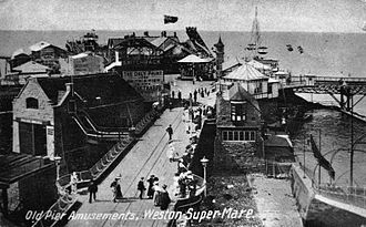 Birnbeck Pier - Amusements on the pier, circa 1910. The lifeboat station of 1902 is on the left.